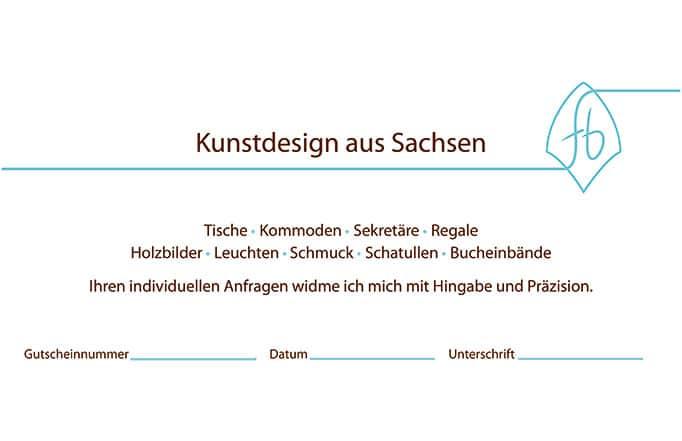 Rückseite des Gutscheins für die Intarsienmanufaktur Sachsen
