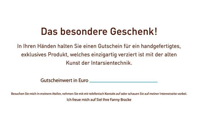 Vorderseite des Gutscheins für die Intarsienmanufaktur Sachsen