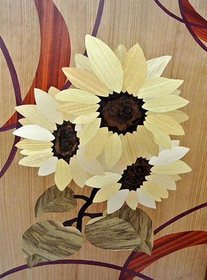 Holzbild mit gelben Sonnenblumen