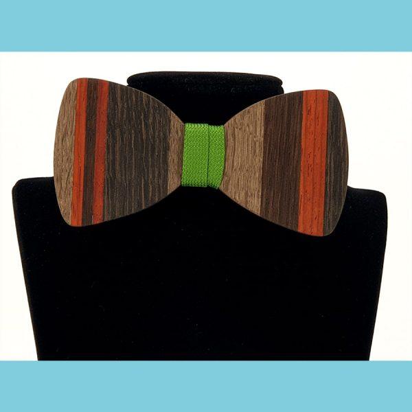 Vorderansicht Holzfliege mit Intarsien - Modell Intarsie Linear